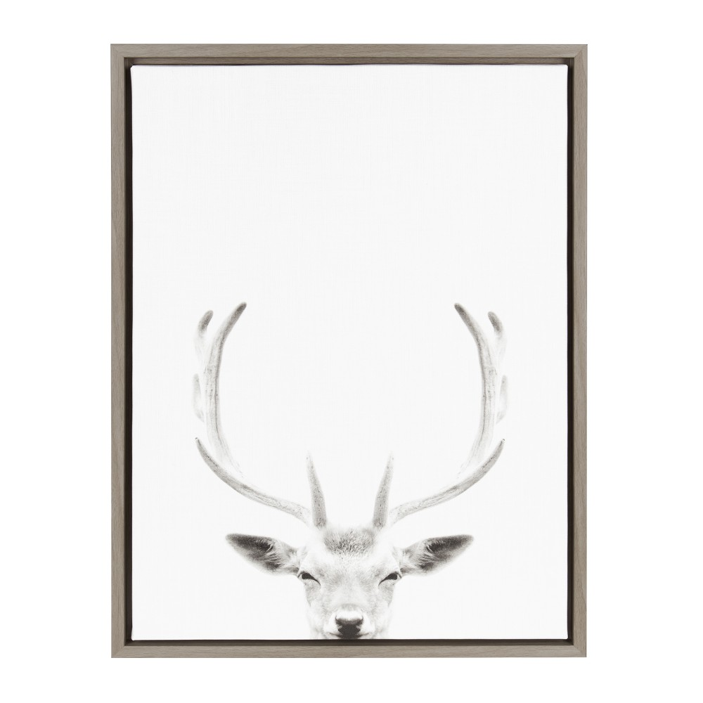 "Image of ""Kate & Laurel 24""""x18"""" Sylvie Deer with Antlers And Portrait By Simon Te Tai Framed Wall Canvas Gray"""