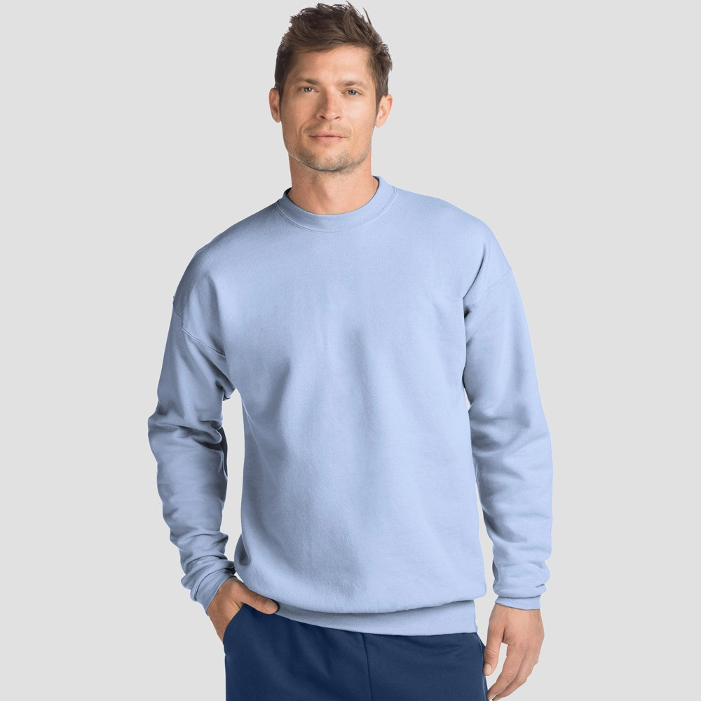 Hanes Men S Ecosmart Fleece Crew Neck Sweatshirt Light Blue Xl