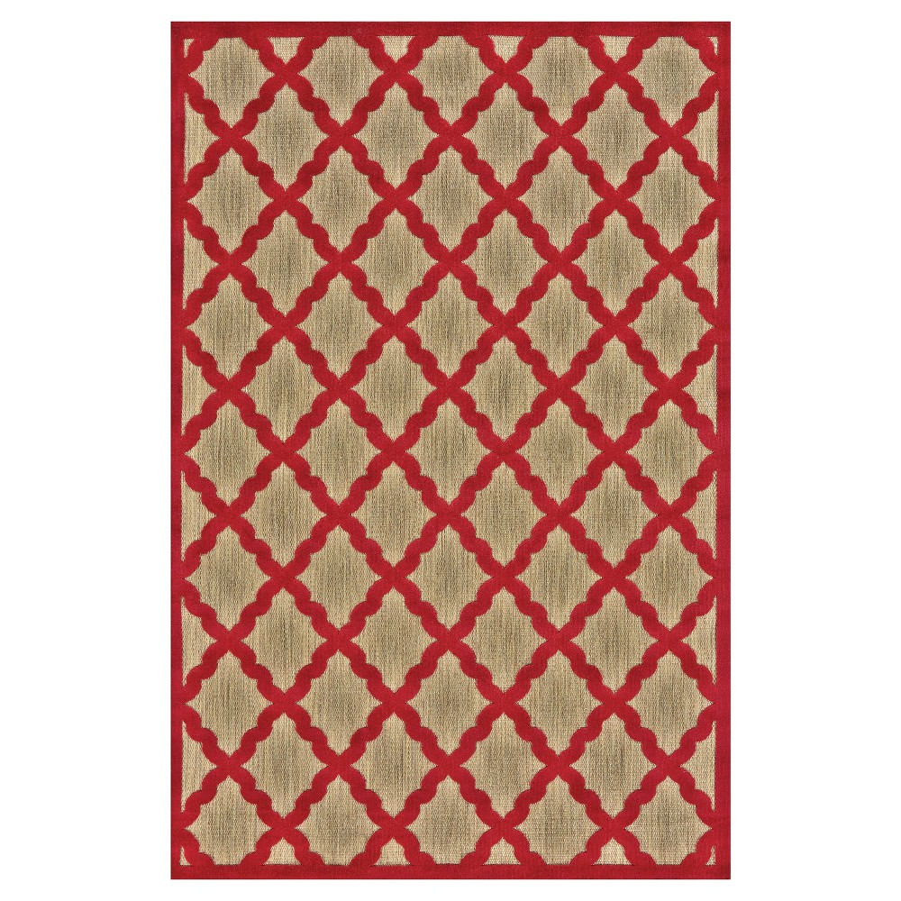 5'X7'6 Trellis Loomed Area Rugs Tan/Red - Room Envy, Yellow