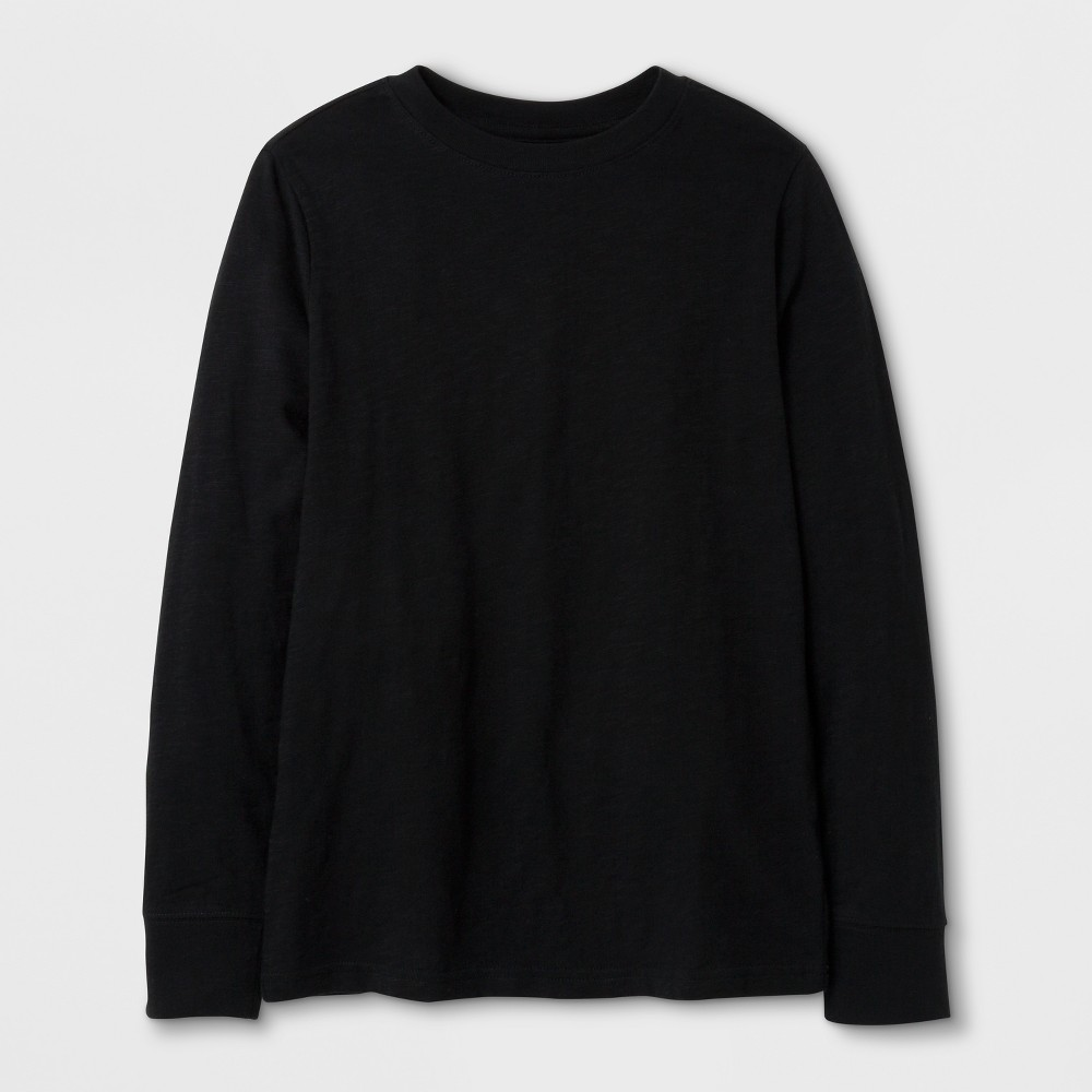 Boys' Classic Long Sleeve T-Shirt - Cat & Jack Black L