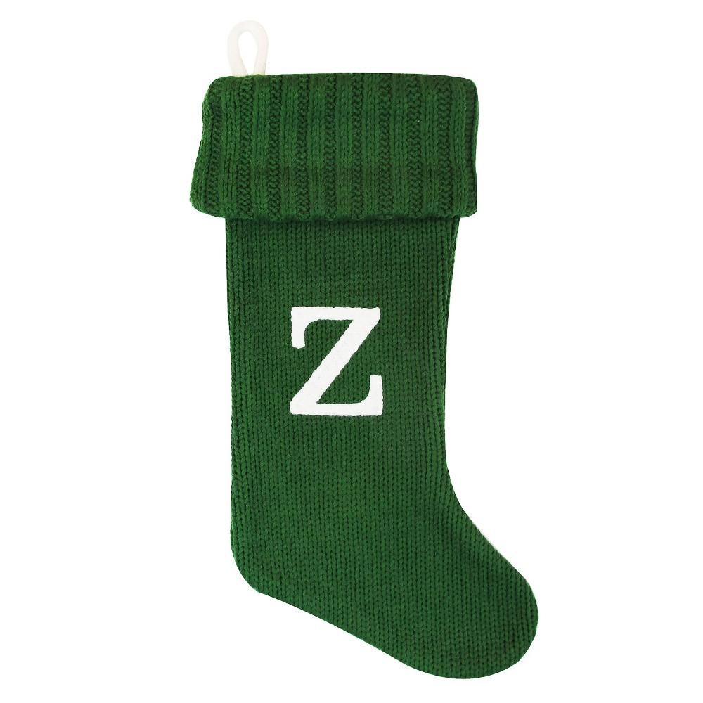 Knit Monogram Christmas Stocking Green Z - Wondershop