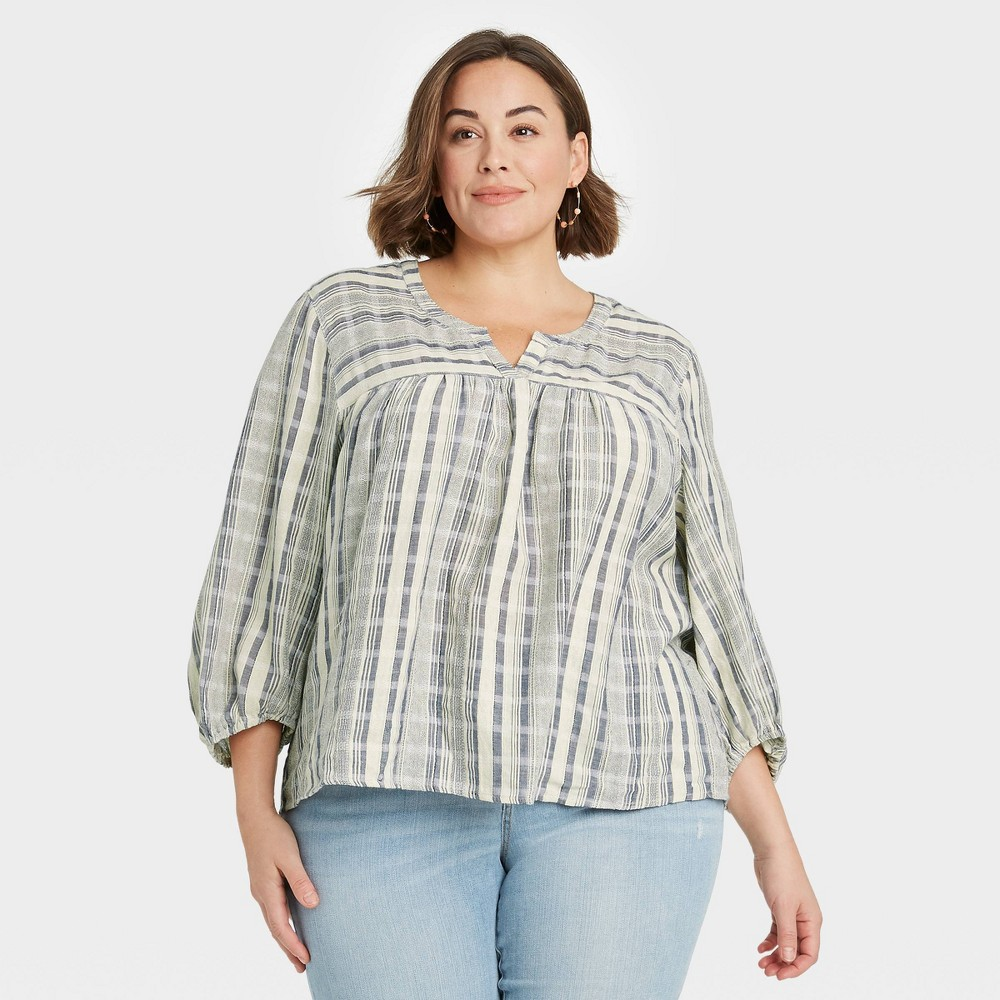Women 39 S Plus Size Striped 3 4 Sleeve Top Knox Rose 8482 Blue 2x