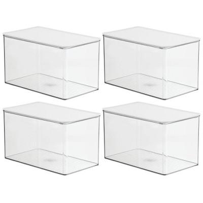 mDesign Plastic Stackable Kitchen Storage Box, 4 Pack