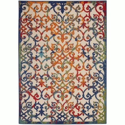 Blue Orange Indoor Outdoor Area Rug
