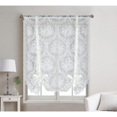 Kate Aurora Country Farmhouse Shabby Chic Floral Lace Tie Up Curtain Shade