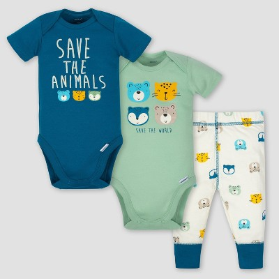 Gerber Baby Boys' 3pc Animals Onesies Bodysuit and Pant Set - Blue/Green 0-3M