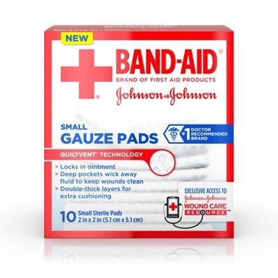 Band-Aid Brand Cushion Care Gauze Pads, Small, 2 in x 2 in - 10 ct
