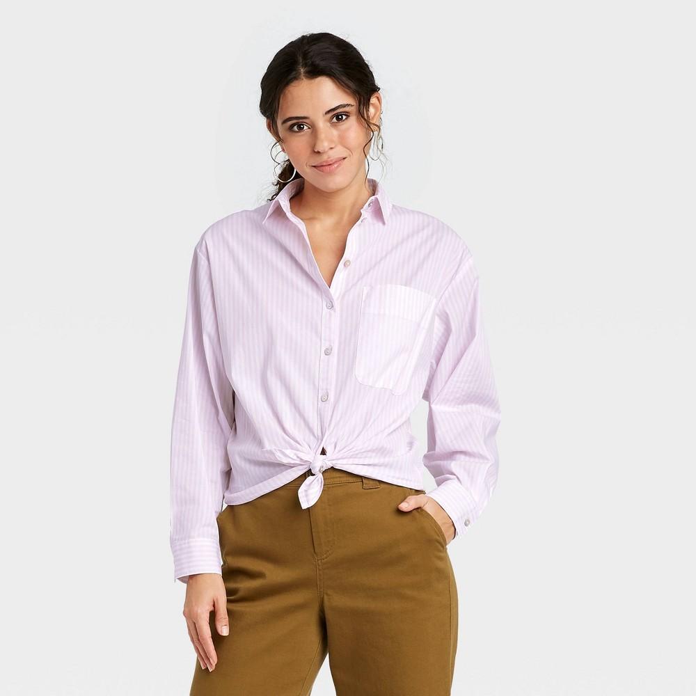 Women 39 S Striped Long Sleeve Button Down Boyfriend Shirt A New Day 8482 Light Pink M