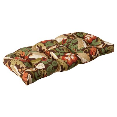 Outdoor Wicker Bench/Loveseat/Swing Cushion - Brown/Green Floral