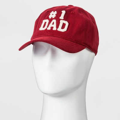 Men's Chenille Number One Dad Baseball Hat - Goodfellow & Co™ Red