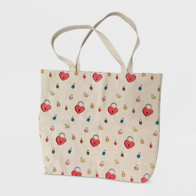 Women's Netflix To All The Boys 3 Locket Tote Bag - Ecru