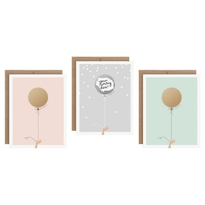 3ct Balloons Scratch-off Greeting Cards