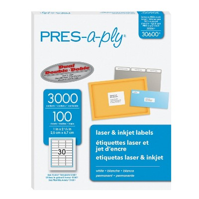 PRES-a-ply Permanent-Adhesive Address Labels For Laser and Inkjet Printers, 1 x 2-5/8 Inches, White, Box of 3000