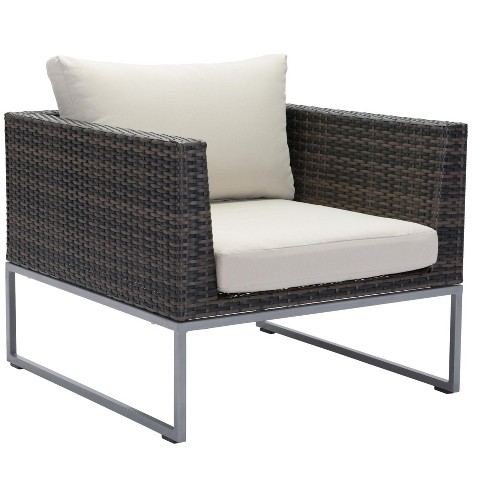 Remarkable Zuo Modern 703836 Malibu 32 Wide Aluminum Frame Outdoor Club Chair Dailytribune Chair Design For Home Dailytribuneorg