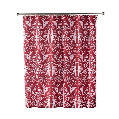 Vern Yip Christmas Carol Shower Curtain Red - SKL Home