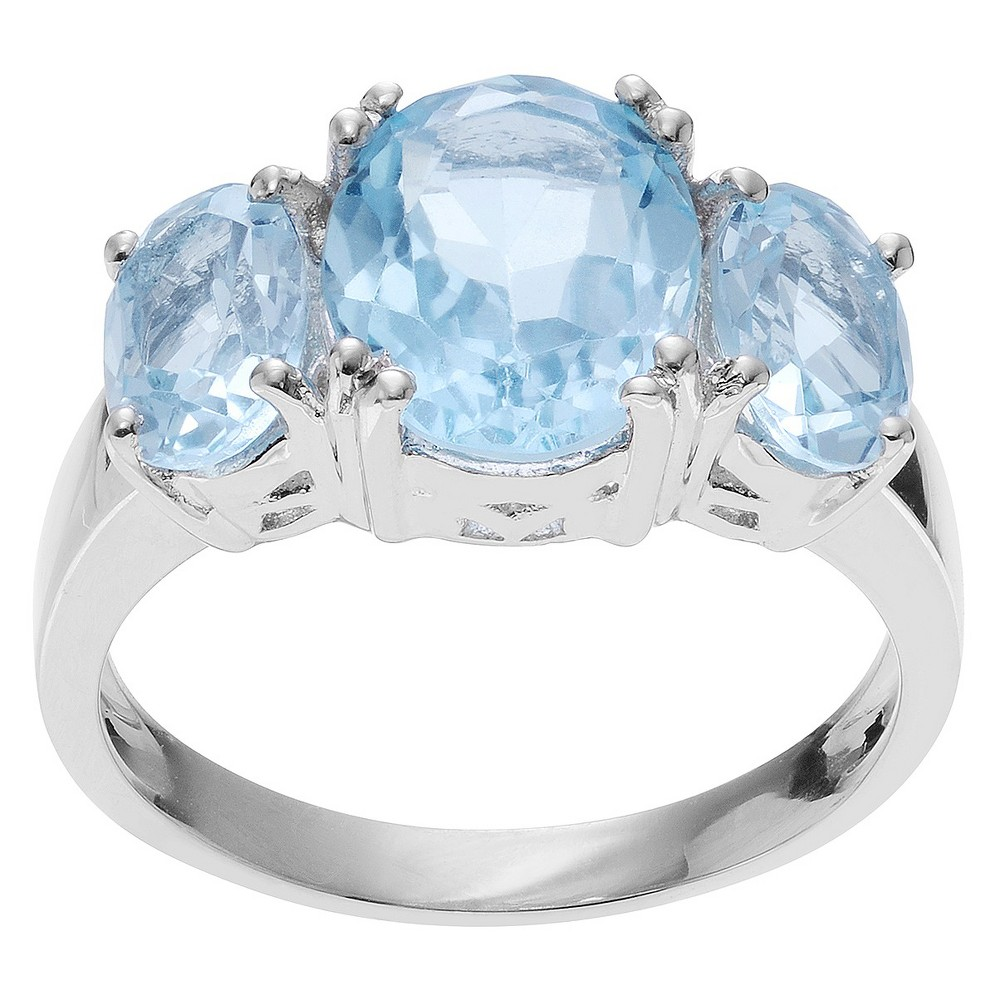 4 CT. T.W. Oval-Cut Topaz Three-stone Prong-Set Ring in Sterling Silver - Blue (6), Girl's