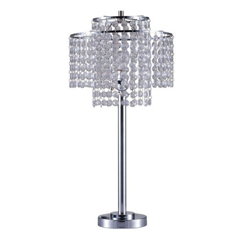 26 Antique Metal Table Lamp With Crystals And Usb Port Silver Ore International Target