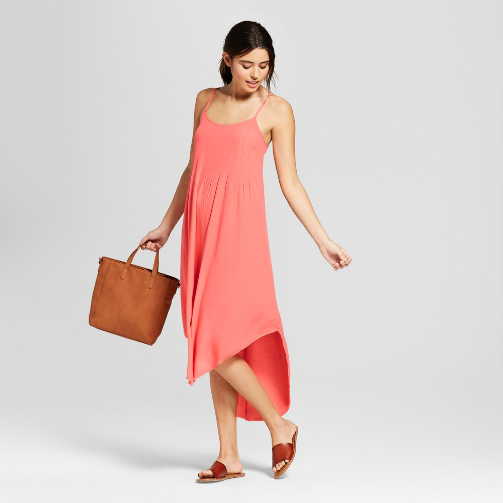 Women's Pleated Front Strappy Dress - Universal Thread Coral XL, Pink