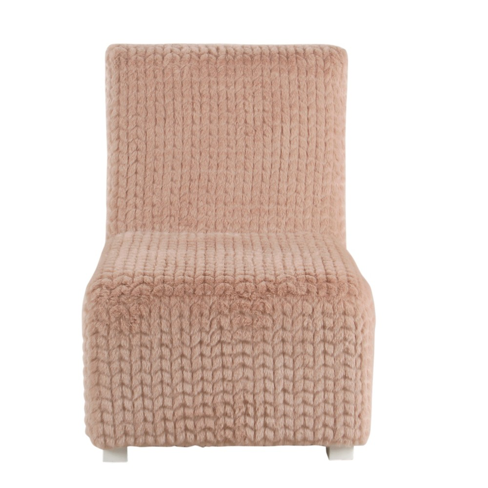 Kids Cushioned Slipper Chair Faux Fur Textured Pink - HomePop
