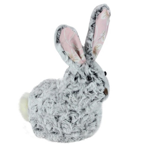 """Northlight 8"""" Plush Floral Eared Bunny Easter Rabbit Spring Figure - Gray/Pink - image 1 of 3"""