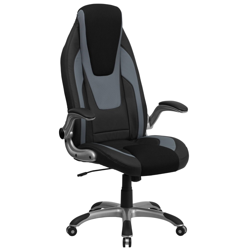 Executive Swivel Office Chair Black & Gray Vinyl - Flash Furniture