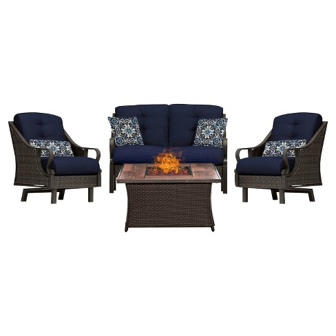 Venture 4pc All-Weather Wicker Patio Chat Set w/Fire Pit - Hanover - image 1 of 10