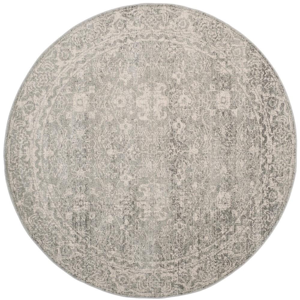 9' Medallion Round Area Rug Silver/Ivory - Safavieh