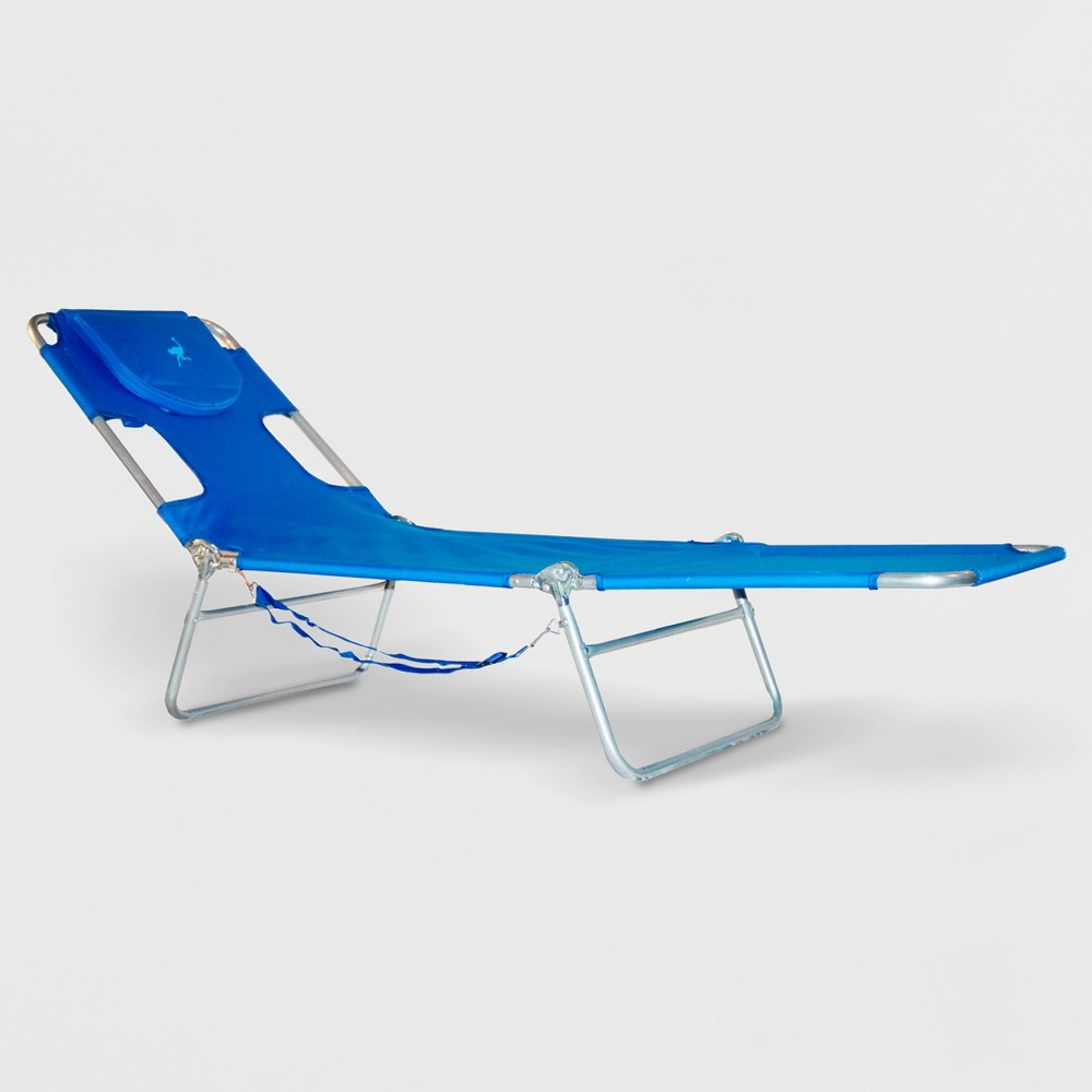 Image of Ostrich Face Down Beach Chaise Lounger Blue - Deltess