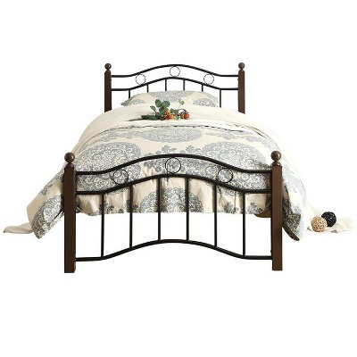 Homelegance Twin Size Averny Metal Platform Bed Frame and Storage Space Below with Headboard and Footboard, Black