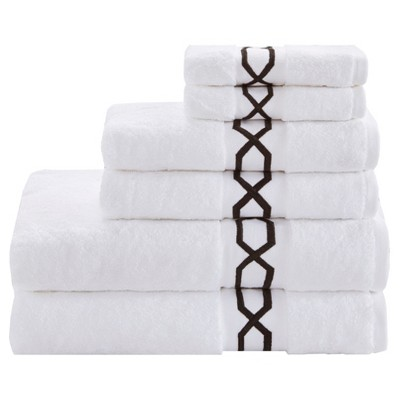 Circuit Cotton Embroidered Solid Towel Set 6pc Black