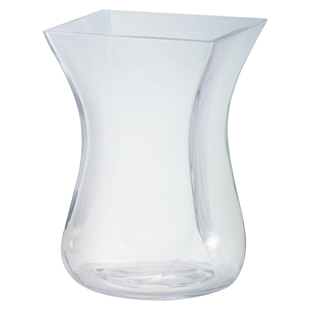 "Image of ""9""""x6"""" Glass Curved Vase - Diamond Star, Clear"""