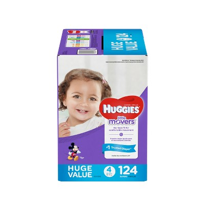 Huggies Little Movers Diapers Huge Pack - Size 4 (124ct)