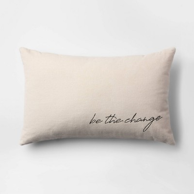 Be the Change  Velvet Lumbar Throw Pillow Cream - Room Essentials™