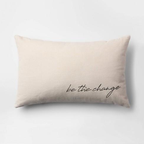 """Be the Change"" Velvet Lumbar Throw Pillow Cream - Room Essentials™ - image 1 of 4"