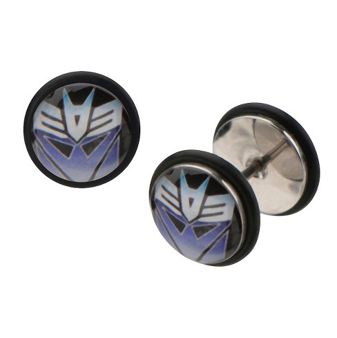 Women's Hasbro Transformers Decepticon Graphic Stainless Steel Screw Back Earrings - image 1 of 1