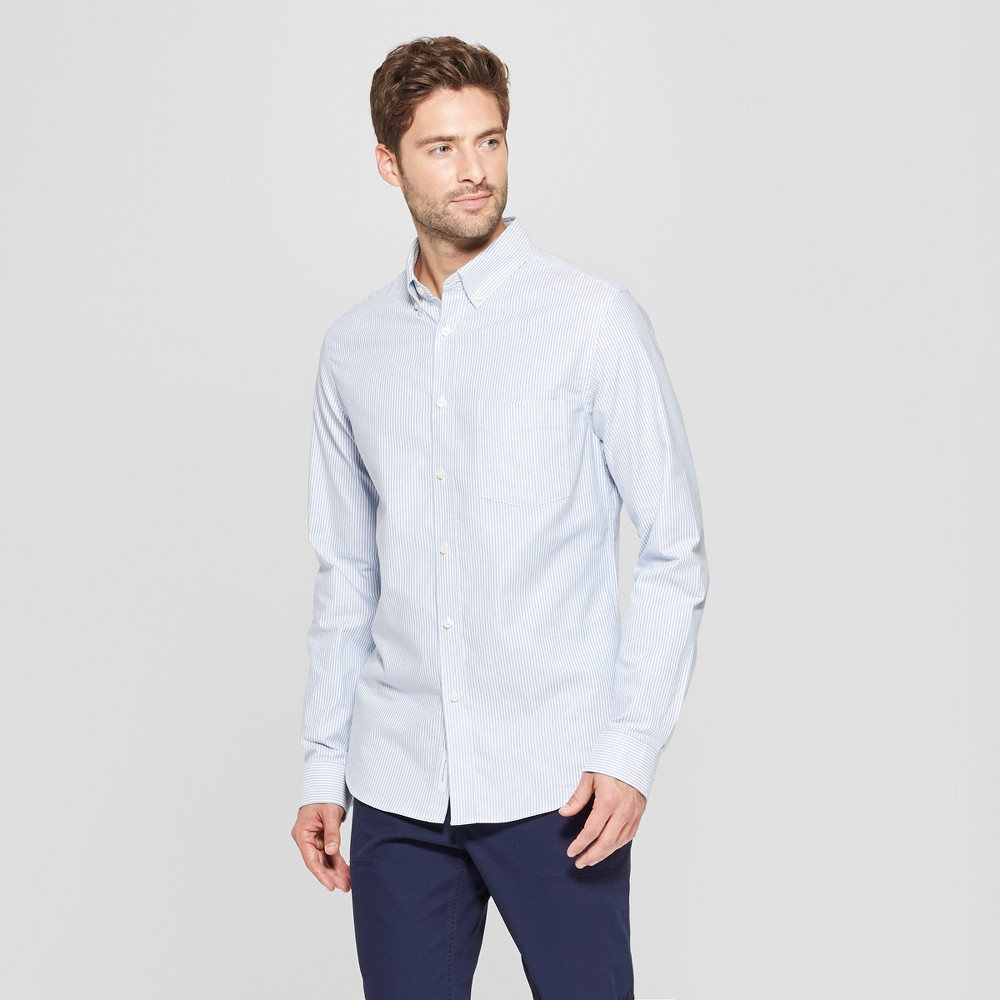 Men's Slim Fit Brushed Whittier Oxford Long Sleeve Collared Button-Down Shirt - Goodfellow & Co Amparo Blue 2XL