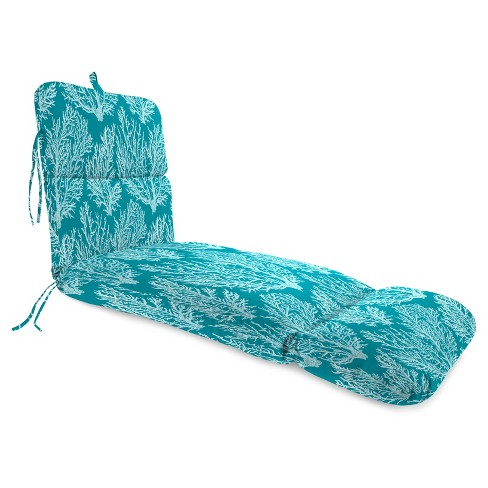 Outdoor Knife Edge Chaise Lounge Cushion In Seacoral Turquoise  - Jordan Manufacturing - image 1 of 2