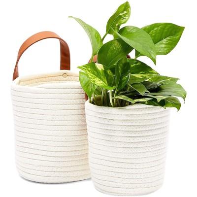 Farmlyn Creek 2 Pack Hanging Planter Basket, Cotton Woven Plant Pots (2 Sizes)