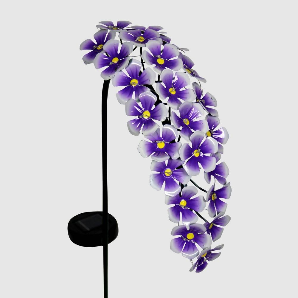 "Image of ""28"""" Solar Resin/Metal Hanging Flower Garden Stake Purple - Exhart"""