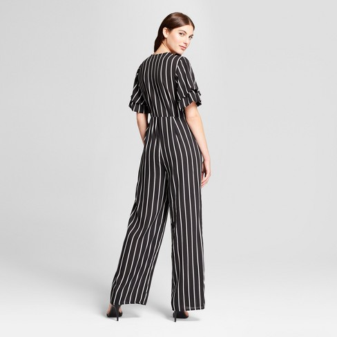 bcd8fe1ee0c4 Women s Striped Ruffle Sleeve Wrap Tie Jumpsuit - clair Black White L    Target