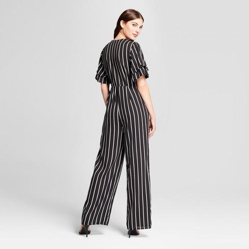80b2c692c732 Women s Striped Ruffle Sleeve Wrap Tie Jumpsuit - clair Black White   Target