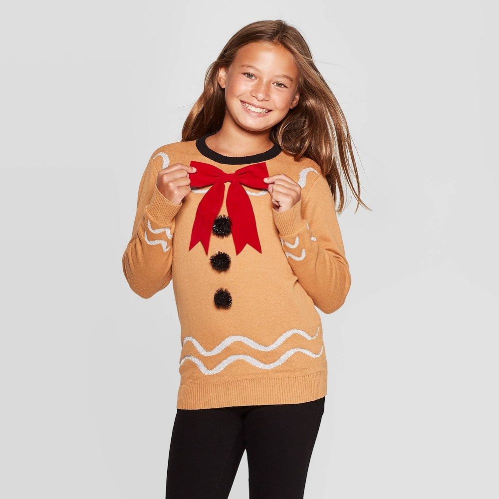 Image of Girls' Gingerbread Long Sleeve Ugly Holiday Pullover Sweater - Brown L(10/12), Men's, Size: Large