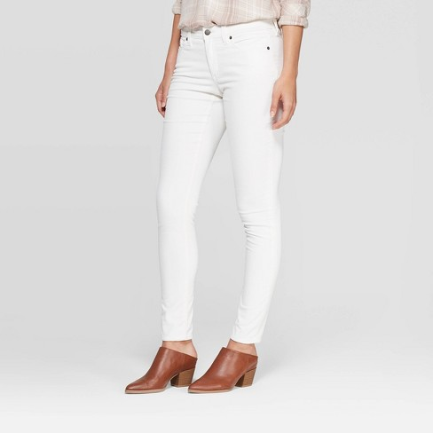 Women's Corduroy Mid-Rise Skinny Jeans - Universal Thread™ Cream - image 1 of 4