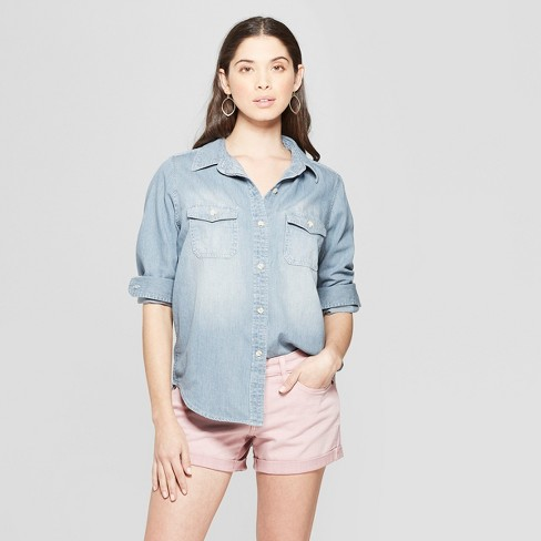 Women S Striped Long Sleeve Collared Labette Denim Shirt Universal Thread Light Wash
