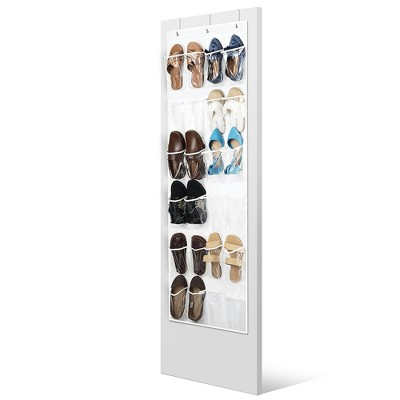 OSTO White Over-The-Door Pantry Organizer; Hanging Kitchen Storage 24 Clear Pockets, 3 Metal Hooks, Nonwoven Fabric; White