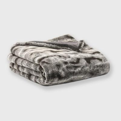 "60""x50"" Faux Rabbit Fur Ombre Throw Blanket Brown - EVERGRACE"