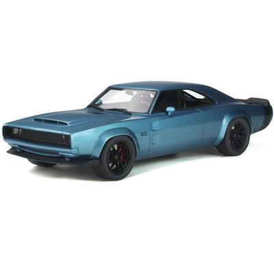 "1968 Dodge Super Charger Sema Concept ""Mopar"" Blue Metallic with Black Tail Stripes 1/18 Model Car by GT Spirit"