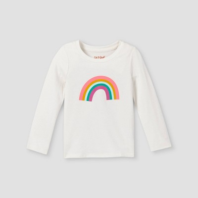 Toddler Girls' Rainbow Long Sleeve Graphic T-Shirt - Cat & Jack™ Cream