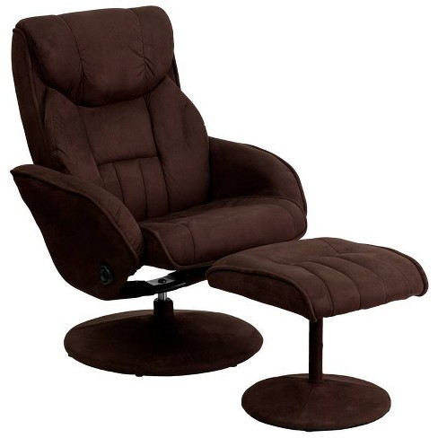 2pc Contemporary Multi Position Recliner and Ottoman Set Brown - Riverstone Furniture Collection - image 1 of 4