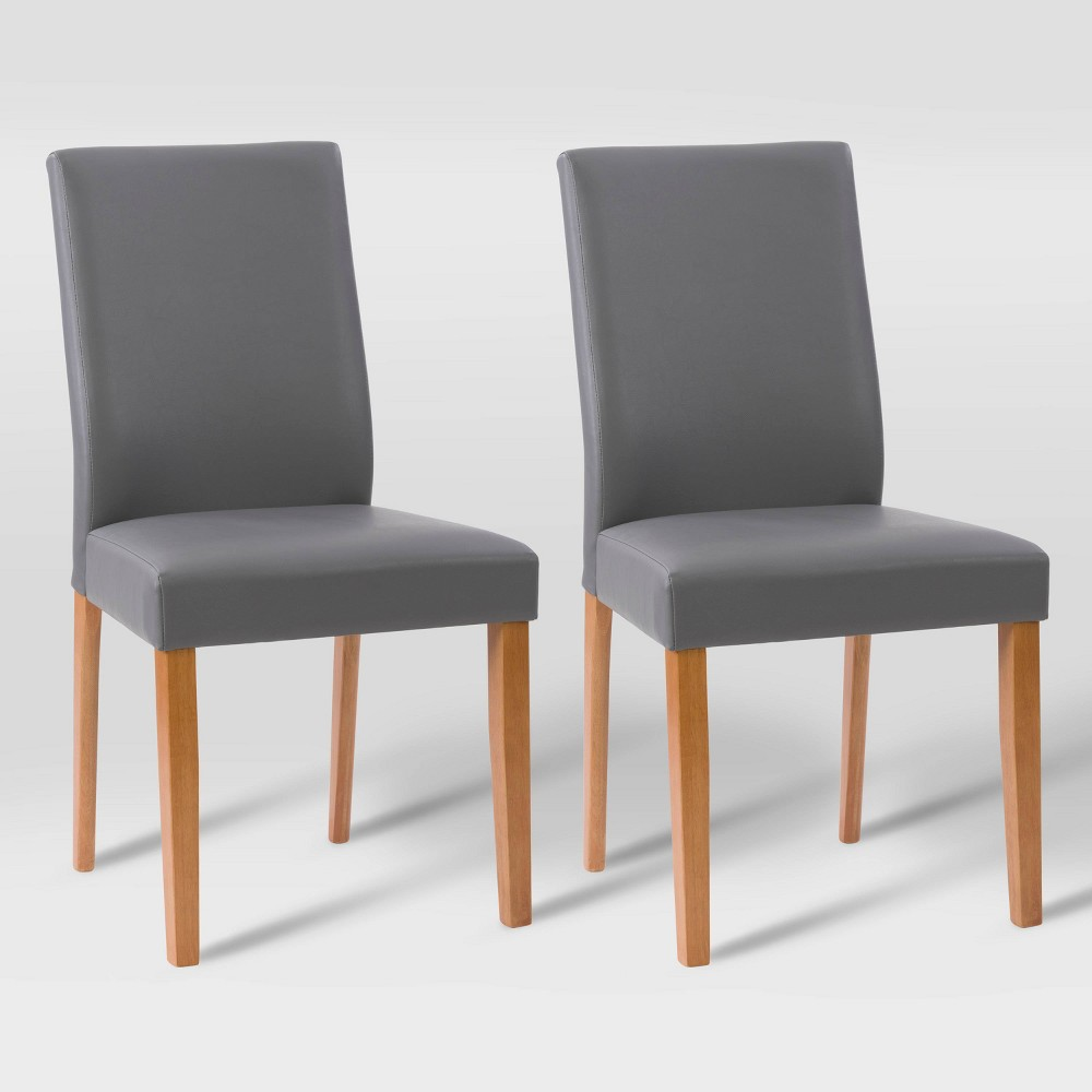 Set Of 2 Alpine Two Toned Dining Chairs Gray Cherry Red Corliving